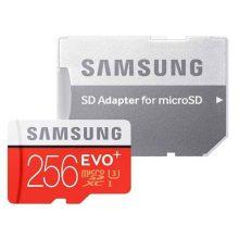 کارت حافظه microSDXC سامسونگ مدل Evo Plus کلاس ۱۰ استاندارد UHS-I U3 سرعت ۱۰۰MBps همراه با آداپتور SD ظرفیت ۲۵۶ گیگابایت